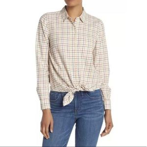 Madewell Plaid Tie Front Ivory Button Down Top NEW